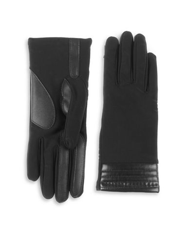 Isotoner Faux-Leather Trim Touchscreen Gloves-BLACK-Large/XLarge