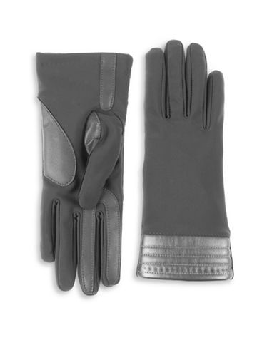 Isotoner Faux-Leather Trim Touchscreen Gloves-CHARCOAL-Small/Medium