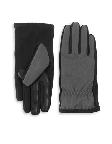Isotoner Sherpa-Nylon Tech Gloves-CHARCOAL-Small/Medium