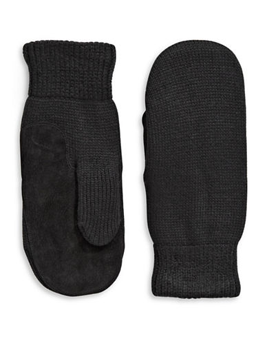 Isotoner Knit Mittens-BLACK-One Size