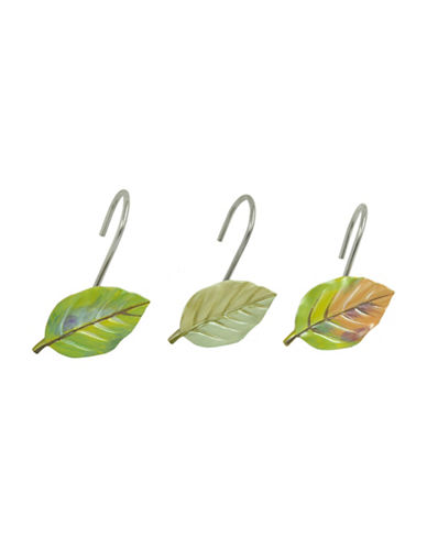 Bacova Guild Waterfall Leaves Ceramic Shower Curtain Hooks-GREEN-One Size