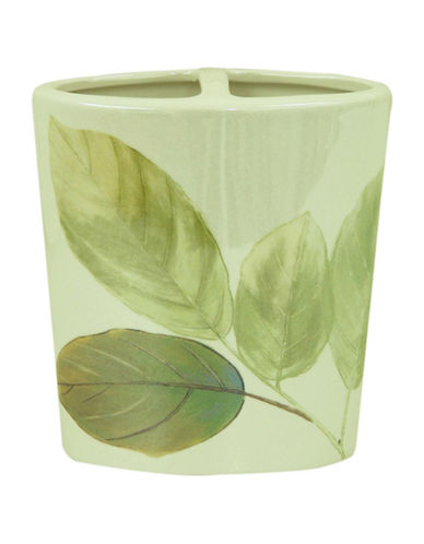 Bacova Guild Waterfall Leaves Ceramic Toothbrush Holder-GREEN-One Size
