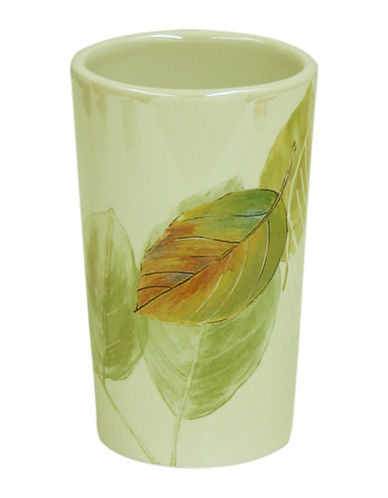 Bacova Guild Waterfall Leaves Ceramic Tumbler-GREEN-One Size