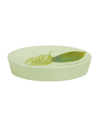 Bacova Guild Waterfall Leaves Ceramic Soap Dish-GREEN-One Size
