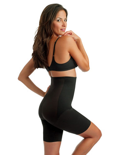 Miraclesuit Shape With An Edge Hi Waist Extra Firm Control Thigh Slimmer-BLACK-2X