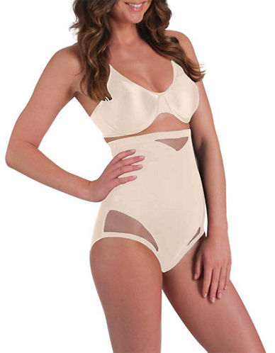 Miraclesuit Sexy Sheer Shaping Hi Waist Brief-BEIGE-Small