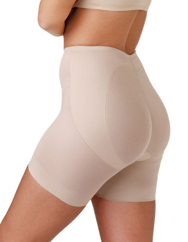 Naomi And Nicole Lift and Shape Waistline Bike Shorts-BEIGE-Medium