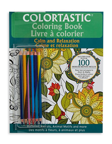 As Seen On Tv Colortastic Calm and Relaxation Colouring Book-GREEN-One Size