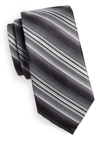 Black Brown 1826 Repp Stripe Silk Tie-BLACK/WHITE-One Size