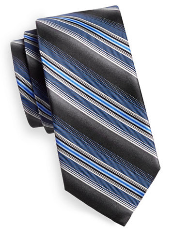 Black Brown 1826 Repp Stripe Silk Tie-BLACK/BLUE-One Size