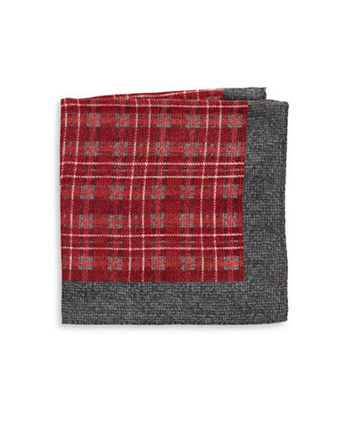 Black Brown 1826 Silk Houndstooth Pocket Square-GREY-One Size