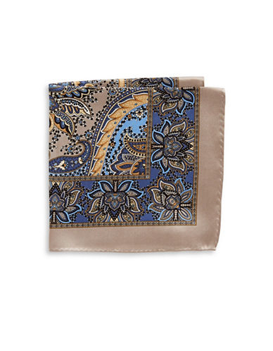 Black Brown 1826 Ornate Silk Pocket Square-BEIGE-One Size