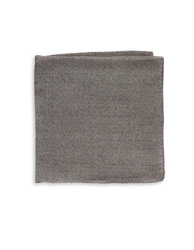 Black Brown 1826 Silk Houndstooth Pocket Square-GREY-One Size