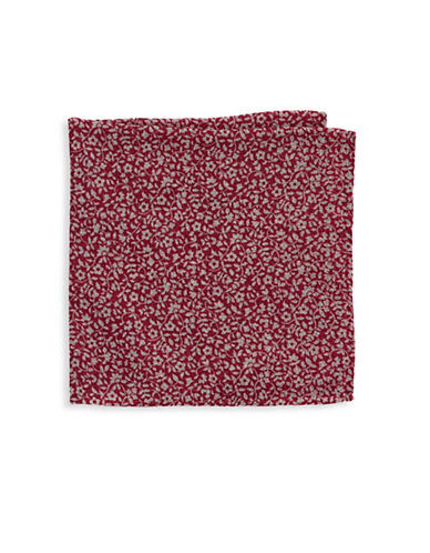 Black Brown 1826 Silk Houndstooth Pocket Square-RED-One Size