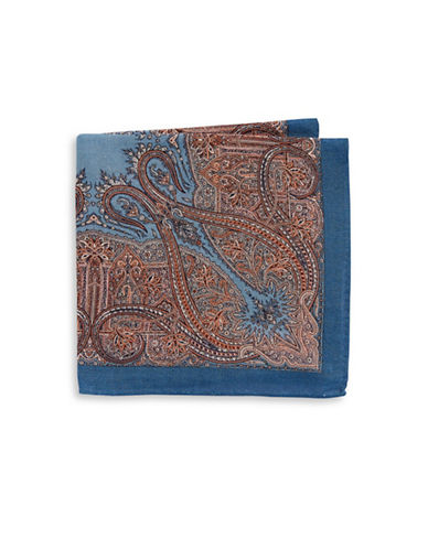 Black Brown 1826 Printed Wool-Blend Pocket Square-BLUE-One Size