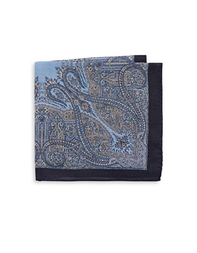 Black Brown 1826 Printed Wool-Blend Pocket Square-NAVY-One Size