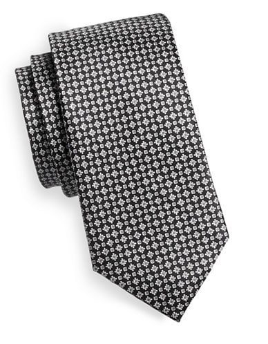 Black Brown 1826 Neat Silk Tie-BLACK/WHITE-One Size