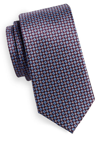 Black Brown 1826 Neat Silk Tie-PURPLE-One Size