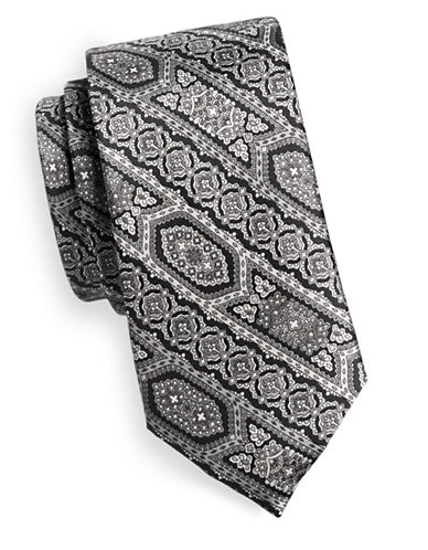 Black Brown 1826 Patterned Stripe Silk Tie-BLACK/WHITE-One Size