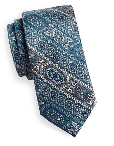 Black Brown 1826 Patterned Stripe Silk Tie-GREEN-One Size