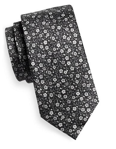 Black Brown 1826 Floral Silk Tie-BLACK/WHITE-One Size