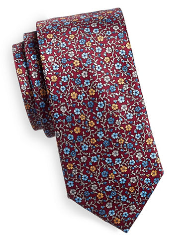 Black Brown 1826 Floral Silk Tie-RED-One Size