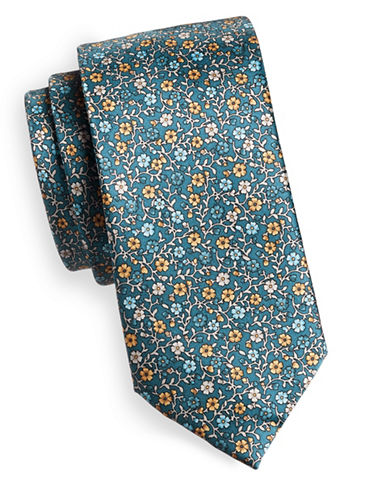 Black Brown 1826 Floral Silk Tie-GREEN-One Size