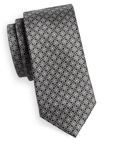 Black Brown 1826 Medallion Silk Tie-BLACK/WHITE-One Size