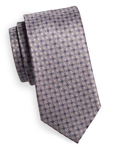Black Brown 1826 Medallion Silk Tie-GREY-One Size