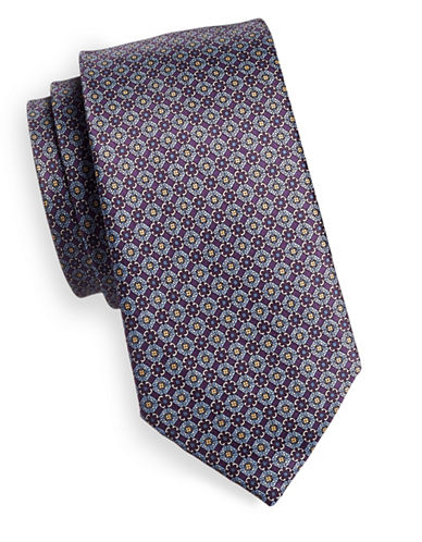 Black Brown 1826 Medallion Silk Tie-PURPLE-One Size