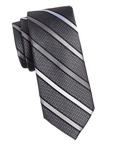 Black Brown 1826 Stripe 1826 Silk Tie-BLACK/WHITE-One Size