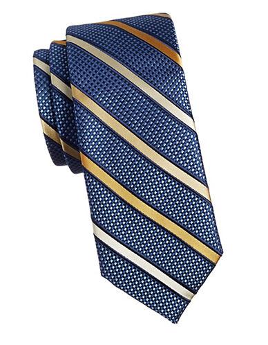 Black Brown 1826 Stripe 1826 Silk Tie-GOLD-One Size