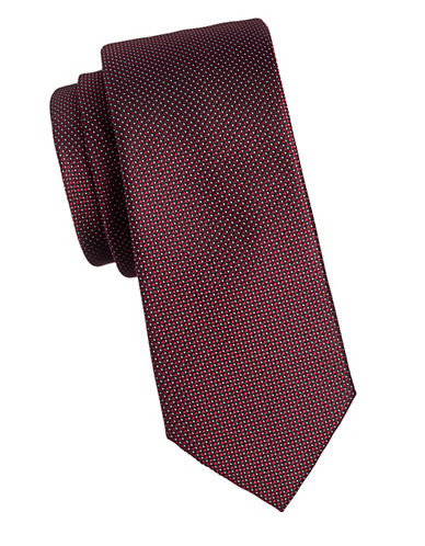 Black Brown 1826 Dotted 1826 Silk Tie-BLACK/RED-One Size