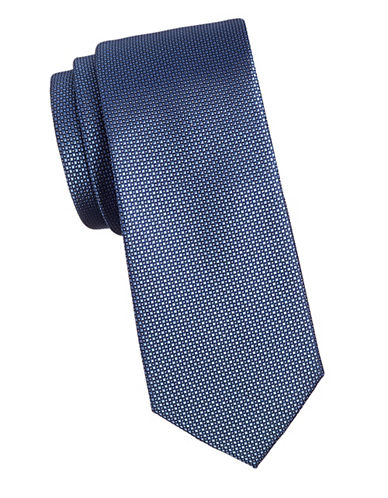 Black Brown 1826 Dotted 1826 Silk Tie-BLUE-One Size