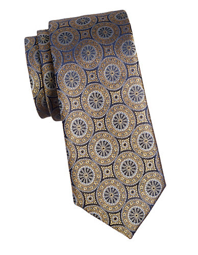 Black Brown 1826 Vintage 1826 Silk Tie-GOLD-One Size