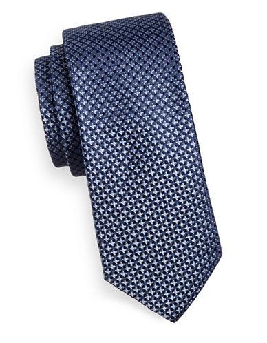 Black Brown 1826 Woven 1826 Silk Tie-BLUE-One Size