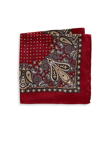 Black Brown 1826 Silk Pocket Square-RED-One Size