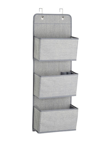 Interdesign Inc Aldo Three-Pocket Fabric Hanging Organizer-GREY-One Size