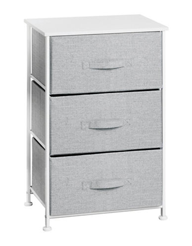 Interdesign Inc Aldo Three-Drawer Fabric Storage Unit-GREY-One Size