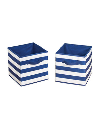 Interdesign Inc ID Jr Set of Two Striped Cube Organizer-NAVY/WHITE-One Size