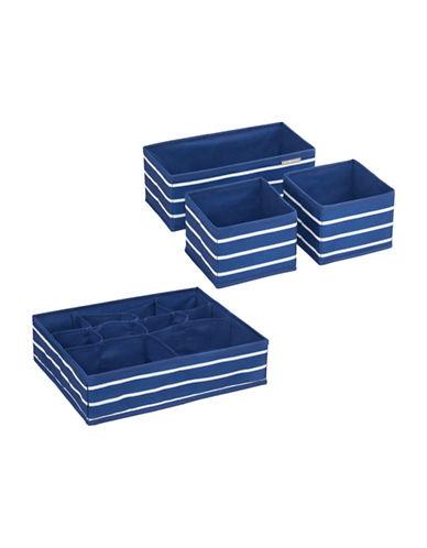 Interdesign Inc ID Jr Set of Four Striped Storage Organizer-NAVY/WHITE-One Size