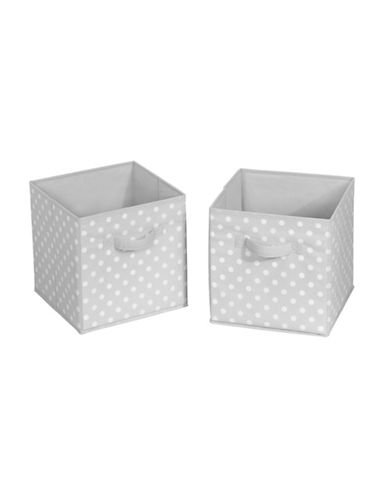 Interdesign Inc ID Jr Set of Two Polka-Dot Storage Cube Organizer-GREY/WHITE-One Size