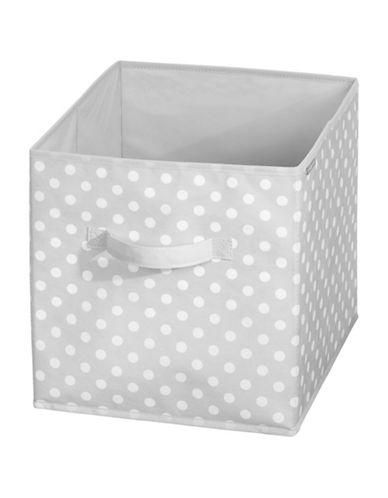 Interdesign Inc ID Jr Polka Dot Cube Storage Organizer-GREY/WHITE-One Size