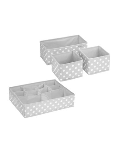 Interdesign Inc ID Jr Set of Four Polka Dot Storage Organizer-GREY/WHITE-One Size