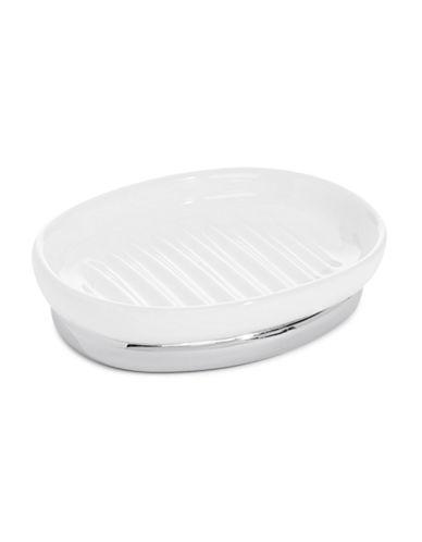 Interdesign Inc York Ceramic Soap Dish-WHITE-One Size