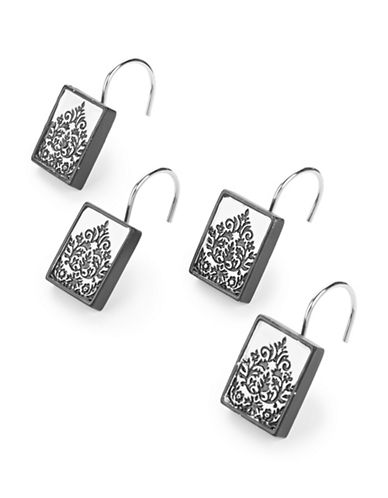 Famous Home Fashions Inc. (Dd) Set of 12 Essence Damask Shower Curtain Hooks-BLACK-One Size