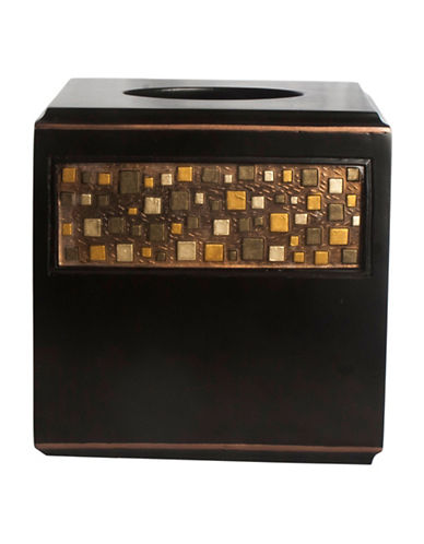 Famous Home Fashions Inc. (Dd) Modena Mosaic Painted Tissue Cover-BROWN-One Size