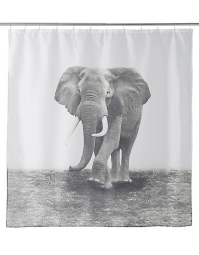 Famous Home Fashions Inc. (Dd) Zarma Elephant Shower Curtain-BLACK/WHITE-One Size