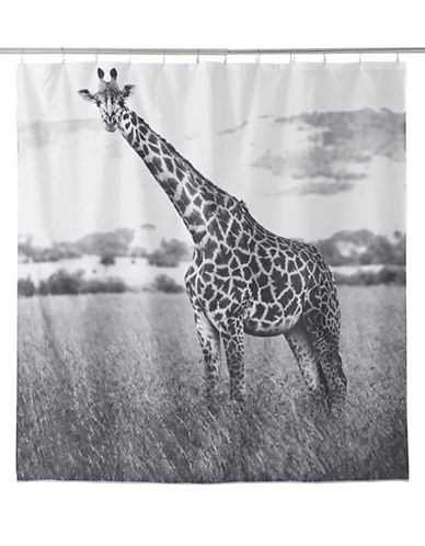Famous Home Fashions Inc. (Dd) Nairobi Giraffe Shower Curtain-BLACK/WHITE-One Size