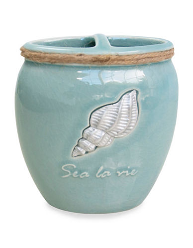 Famous Home Fashions Inc. (Dd) Sea La Vie Ceramic Toothbrush Holder-BLUE-One Size